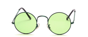 Classic round metal sunglasses with nose pads