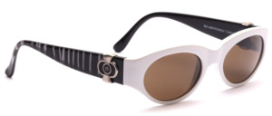 High quality designer sunglasses in matte white with black and silver patterned hangers