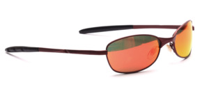 Dark red sports glasses made of metal with flex hinge and orange mirrored lenses