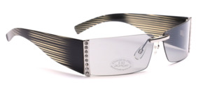 Feminine sunglasses, borderless with white rhinestone decor on the side and gray, in-striped, wide temples