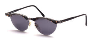 Semi-rimless ladies sunglasses in aluminum with gold screws and decorative rivets