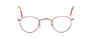 Small panto Frame in light gray with a brown patterned glass rim with engravings and extra long straps