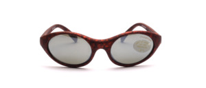 Red-black patterned sports sunglasses for children with silver mirrored lenses