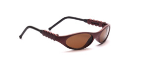 Small children's sunglasses in dark red with flexible temple ends