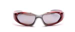 Sporty children's sunglasses in red and silver with gray, slightly silver mirrored lenses