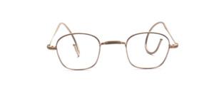 Nickelbrille aus den 1940er Jahren mit W-Steg, also ohne Nasenpads, und mit Gespinstbügeln