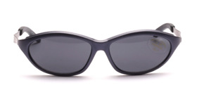 Matt blue sports sunglasses with silver metal temples