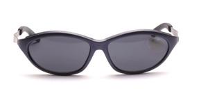 Matt blaue Sport Sonnenbrille mit silbernen Metallbügeln