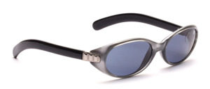 Sporty sunglasses with a silver middle section and black temples