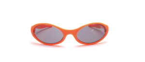 Soft orange sunglasses for toddlers with flexible temples