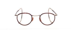 Kinderbrille aus den 1930er Jahren in Pantoform mit Windsorrand in Dunkelhavanna mit halb überzogenen Gespinstbügeln in 145 mm Länge