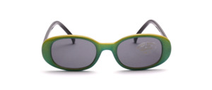 Green-yellow glittering children's sunglasses with black temples