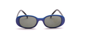 Blue-purple glittering children's sunglasses with black temples