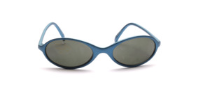 Oval kids sunglasses in blue with gray lenses