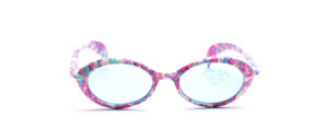 Oval kids sunglasses patterned in white, pink and light blue