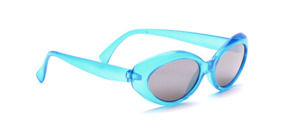 Blue children's sunglasses with gray lenses