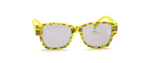 Soft, flexible sunglasses for toddlers in yellow with a frog motif