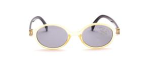 Oval children's sunglasses in yellow with black temples