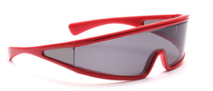 80s sunglasses in fresh red with a continuous windscreen that extends to the temples