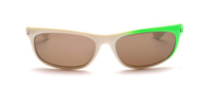 Sporty 80s sunglasses in white with neon green