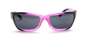 Sportliche 80er Jahre Sonnenbrille in Lila Transparent mit Schwarz