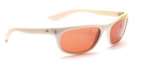 Sportliche 80er Jahre Sonnenbrille in Weiß mit Gelb