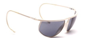 White sports sunglasses made of plastic with double bridge and with sports bars