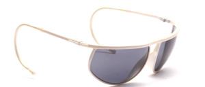 Weiße Sport Sonnenbrille aus Kunststoff mit Doppelsteg und mit Sportbügeln