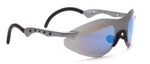 Randlose Sportbrille in matt Grau mit geschwungenen und gelochten Bügeln