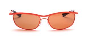80er Jahre Sonnenbrille in Neon Orange lackiert mit Doppelsteg und braunen Scheiben