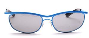80er Jahre Sonnenbrille in Blau lackiert mit Doppelsteg und grauen Scheiben