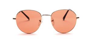 Hochwertige 80er Jahre Panto Sonnenbrille in Gold mit braunen Scheiben