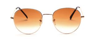 Hochwertige 80er Jahre Panto Sonnenbrille in Gold mit Braun Verlauf Scheiben