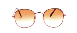 High quality 80s panto sunglasses in metallic pink with brown gradient lenses