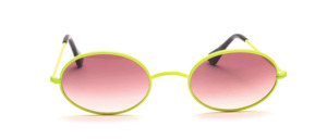 Oval metal sunglasses from the 80s with W - bridge in neon yellow