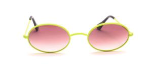 Ovale Metall Sonnenbrille aus den 80er Jahren mit W - Steg in Neon Gelb
