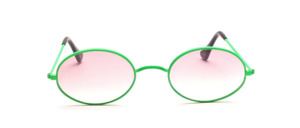 Oval metal sunglasses from the 80s with neon green W bridge