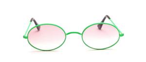 Ovale Metall Sonnenbrille aus den 80er Jahren mit W - Steg in Neon Grün