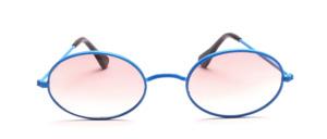 Ovale Metall Sonnenbrille aus den 80er Jahren mit W - Steg in Blau