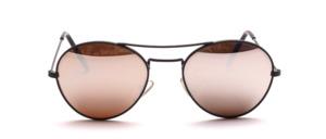 Kleine Pilot Sonnenbrille in Schwarz mit Doppelsteg und grauen, Silber verspiegelten Scheiben