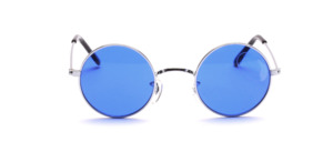 Round silver metal sunglasses with blue lenses