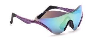Sportliche Sonnenbrille, randlos mit unten angesetzten Pink-Grau gemusterten Bügeln