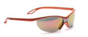 Sportliche Sonnenbrille, randlos in Orange mit Silber mit grauen, Gold verspiegelten Scheiben