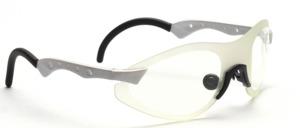 Randlose Sportbrille in Silbergrau mit geschwungenen und gelochten Bügeln