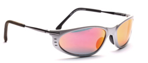 Matt silver sports sunglasses with silver temples