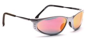 Matt silberne Sport Sonnenbrille mit silbernen Bügeln