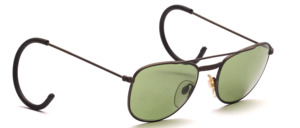 Old aviator style men's sunglasses in gray with green lenses and sport bars (simplex hinge)