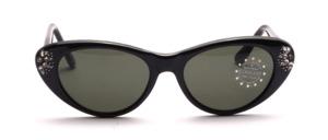Schwarze Cat Eye Sonnenbrille aus den späten 80er Jahren mit hübschem Strassdekor an den Seiten