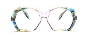 Farbenfrohe 70er Jahre Brille in Transparent Bunt in einer gut tragbaren Form