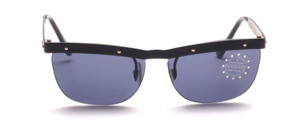 Sunglasses with black metal top beams and black metal temples